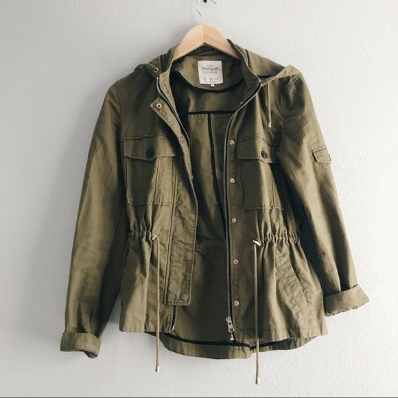 8573c78f Zara Jackets & Coats | Olive Green Hooded Utility Cargo Jacket ...